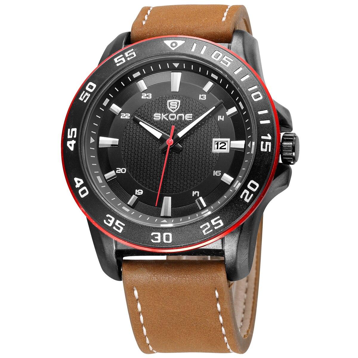 Genuine Leather Watches Men Luxury Brand SKONE Calend !