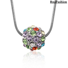 2015 Fashion Accesories Austria Crystal Shamballa Ball Pendant Necklace Silver Plated For Women Party Wedding Jewelry