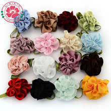 1-248 ( 100 pcs/lot) DIY Double Color Satin Ribbon Flowers With Leaves For Kids Girls Dress Shoes Craft Hair Accessories