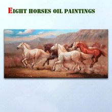 Hand-painted Animals oil paintings on canvas Large Mural Paintings Fashion Eight  Horse Wall Art  for Living Room