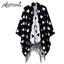 [AETRENDS] 2017 New Love Print Thick Cashmere Feel Poncho Women Scarf Winter Warm Open Up Pashmina Cape Z-6165()