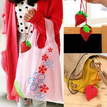 Floral Folding Reusable Grocery Polyester Storage Bag Handbag Large Strawberry Shopping Bag Cute Travel Tote Eco Storage
