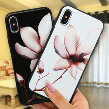 Chinese Lotus Flower Classic Cases for iPhone 6 6S 7 8 Plus Soft TPU Cover Coque Floral Capa Funda Case for iPhone X Phone(China)