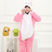 Adult Unisex Lovely Cartoon Hello Kitty Costume  Polka Dot Clothes Soft Flannel Halloween Pajamas Pink Jumpsuits Onesies