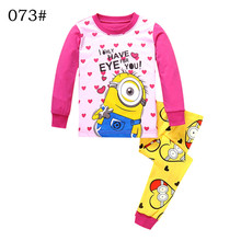 Kids Long Sleeves Full Length Pants Girls Clothing Sets Cartoon Yellow Minions Minion Rose Red Color Girl Age 2 3 4 5 6 7 Years(China)