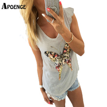 APOENGE 2017 Woman Fashion Sequined 3D Butterfly T shirt Bling V-Neck Petal Sleeve Camisetas Mujer Casual Tee Shirt Femme QN145