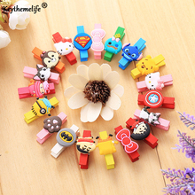 Keythemelife 20PCS Cartoon Mini Wooden Peg Pin Clothespin Hello kitty Craft Clips for Photo Paper Clothes Mixed Color 35mm E3