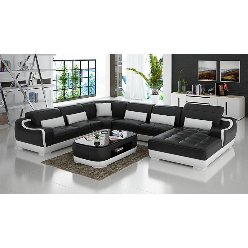 Home Furniture Black U-shape Living Room Furniture Sectional Sofa Set G8007 Fancy Colours