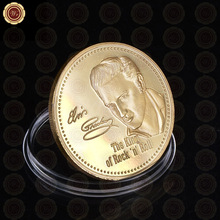 High Quality Elvis Presley 1935-1977 Coin Wholesale Normal Gold Plated The King of Rock 'n' Roll Coin Gift For Promotion(China)