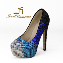 Love Moments Elegant Wedding shoes blue multicolor Handmade Dress party shoes Women  Crystal Design shoesHigh heel lady's pumps