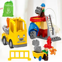 Happywill HM076 51PCS City Construction Team Worker Truck Crane Educational Brick Set Kids Toys Compatible(China)