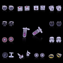 Dropshipping Fashion Anime Men's Cufflinks Jewelry Hourglass Time Converter Star Wars Captain America Naruto Drum Poker Cross