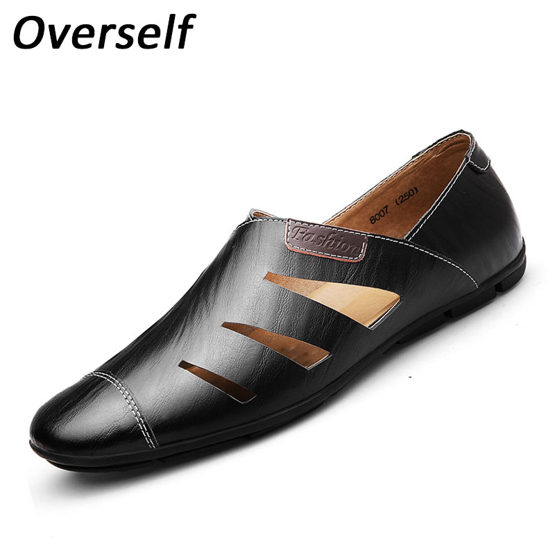 High Quality Summer Genuine Leather Men Shoes Soft Moccasins Loafers Fashion Brand Mens Flats Comfy Driving Shoe Plus Big Size<br>