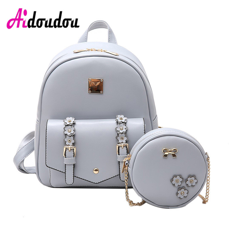Brand Designer Floral Women Backpack 2 Pcs School Bag Set High Quality Chain Shoulder Bag Fashion Bow Knapsack for Teenage Girls<br>