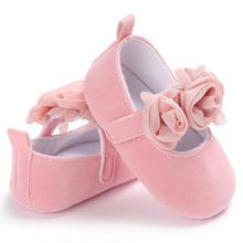 Ephex 2017 Autumn Flock Newborn Baby Girls First Walkers Three Flowers Cotton Solid Infants Suede Prewalkers Flock Baby Shoes(China)