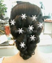 Han edition headdress twist ShanZuan snowflake flower bride hair hairpin Silver plated 8 pcs(China)