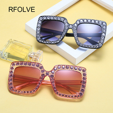 RFOLVE New Fashion Trend Color Diamond Women Sunglasses Classic Square Prevent Bask Glasses Individuality Eyeglasses UV400 R8235(China)