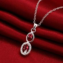 Women's Silver Plating Double Red Zircons Pendant Necklace Chain Fashion Fine Jewelry Wholesale Gifts Collection For Women