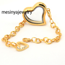 10pcs expensive PVD gold floating charm magnet memory living glass curved heart locket bracelet(China)