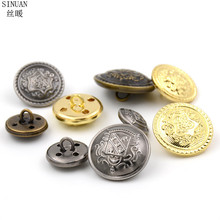 SINUAN Brass Buttons Round Button Shank Buttons For Coats Plating Button Clothing 100Pcs Sewing Crafts Clothing Accessories(China)