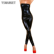 Buy Women Black Nightclub Punk Faux Leather Latex Catsuit Strapless Gothic Bodysuit Maid Costume Jumpsuit Women Maid Costume