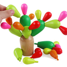 Educational Cartoon Plants Cacti Blocks Natural Wood Assembled Toys Cactus Multi function Stacked toys(China)