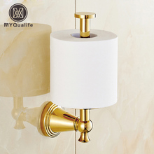 Free Shipping Wall Mounted Standing Toilet Paper Holder Golden Roll Bathroom Paper Tissue Rack(China)
