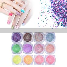 1Set New Mixed 12Colors 3D Nail Art Sand Dust Powder Super Matte Sequins Decoration DIY Hot