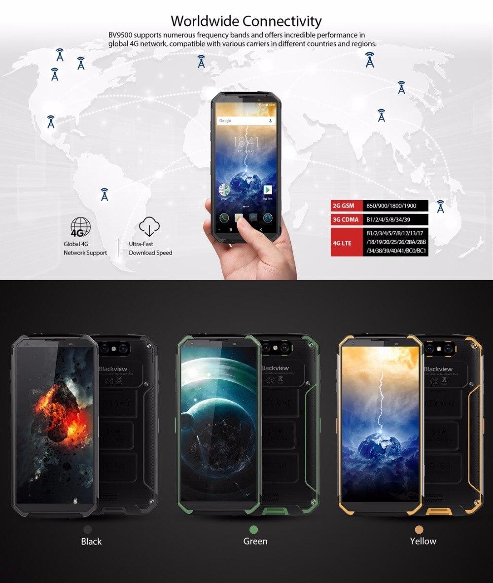 "Blackview BV9500 4G Mobile Phone Android 8.1 Octa Core 5.7"" 18:9 MTK6763T 4GB RAM 64GB ROM IP68 Waterproof Smartphone NFC OTG"
