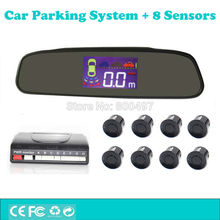 Car Backup Reverse and Front Radar System Parking Assistance System with Rearview Mirror TFT LCD Display and 8 Parking Sensors