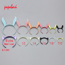 2PCS 1/12 1/8 1/6 1/4 1/3 Doll Accessories mini colourful rabbit and cat ear hair band for BJD Blyth doll accessories(China)