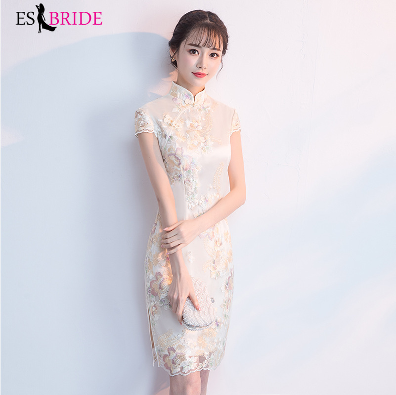 Champagne Cheongsam Evening Dresses Long 2019 Plus Size V-neck Short Sleeve Wedding Guest Gown Elegant Abito Da Cerimonia ES1820