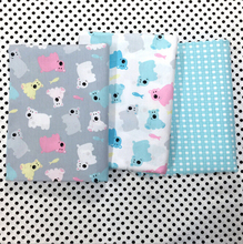 New Bear Grid 100% Cotton Fabric Quilting Tilda Tissue Kids Home Textile Curtain Patchwork  The Cloth Sewing Craft Diy Handmade