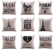 Eiffel Tower Paris Is Always A Good Idea Cushion Covers Europe Vintage English Letters Skull Pillow Cover Linen Pillow Case