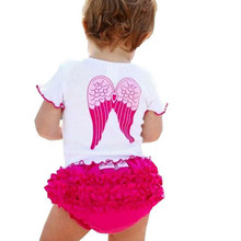 2016 New Hot sell baby clothes sets cute girl wing tops+shorts 2 pcs suit summer infant suit Wholesale  Baby Girl Set