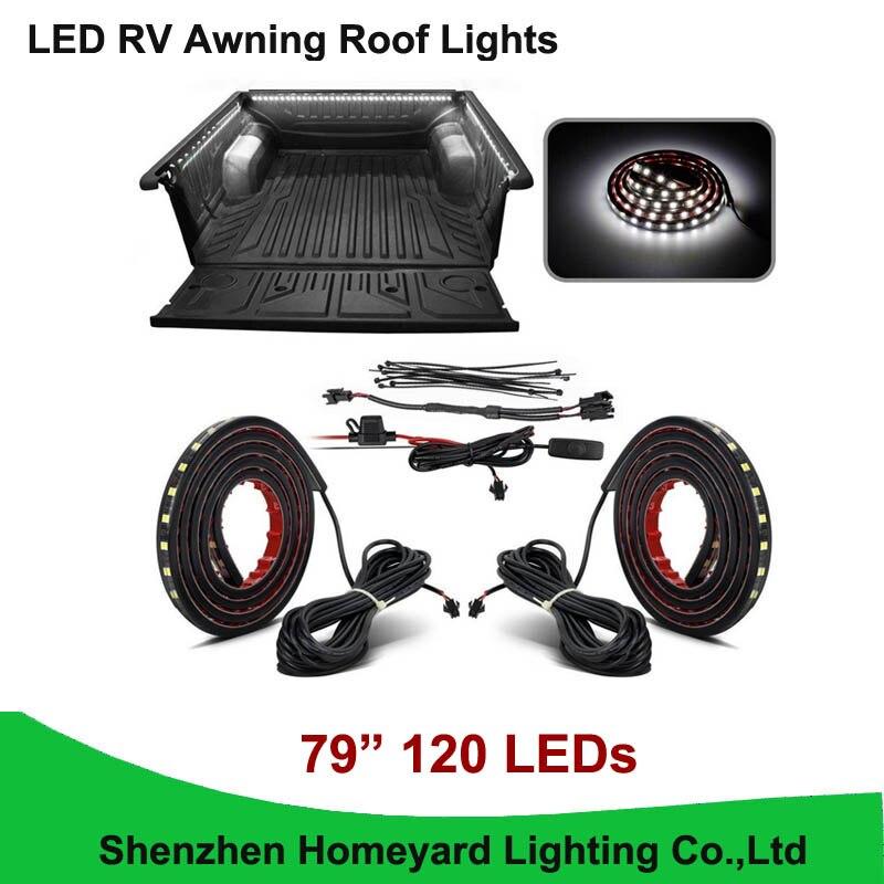 1set/pcs  79 White LED RV Awning Roof Lights Custom Made 120-5050-SMD Truck Bed Light for pickup<br>