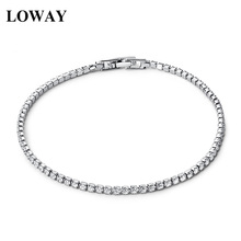 LOWAY Crystals 2mm Chain & Link Bracelets Gold Color Fine Zirconia Fashion Jewelry Women Brief Bracelet Hot Sale SZ3858