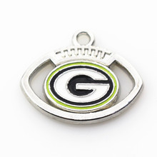 Hot selling 20pcs/lot football Team Sports Green Bay Packers Charms Hanging necklace&bracelet floating charms Jewelry