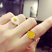 2pcs Yellow Fried Eggs Smiling Face Ring 2017 Hot Gold Color Alloy Finger Rings For Women