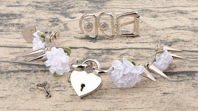 100% Handmade Clear PVC Safe Heart Collares Kawaii Lockable With Key PadLock Choker Flowers Harajuku Double Long Spikes Necklace 10