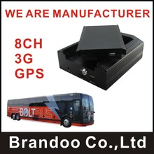 Inexpensive 8CH 3G CAR DVR, 8 cameras recording, live video monitoring, GPS support, used for bus,train,truck,long vehicle