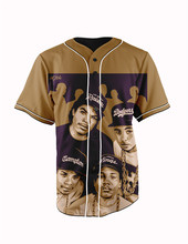 Real American Size  nwa 3D Sublimation Print Custom made Button up baseball jersey plus size