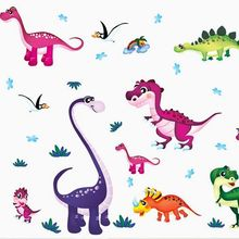 Cartoon Colorful Dinosaurs Wall Stickers PVC DIY Kids Room Nursery Home Decoration Wall Decals Backdrop Wallpaper Lovely(China)