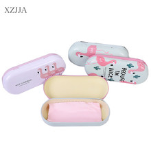 XZJJA Kawaii Flamingo Iron Tin Boxes Glasses Case Cartoon Storage Box Organizer For Jewelry Eyewear Spectacles Container Cover(China)