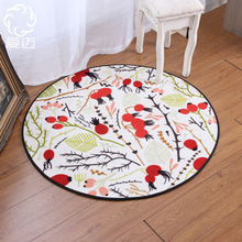 Buy Pastoral Style Red Fruit Green Leaf Pattern Rug Non-Slip Living Room Bedroom Rugs Fashion Sofa Tea Table Bedside Round Carpet for $32.90 in AliExpress store