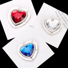Heart Shaped Foldable Purse Handbag Hanger Table Hook Holder Women Gift Red/Blue/Silver