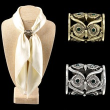 Newest Charming Retro Hollow Owl Scarf Buckle Crystal Bronze/Antique Silver Scarf Holder Wedding Brooch Christmas Pins