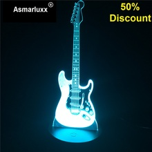 Guitar Model Illusion 3D Night Lamp 3D Light Electric LED 7 Color Changing USB Touch Sensor Desk Light Budget 50% Discount Off(China)