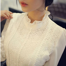 2015 New Ladies Lace Crochet Blouse Chiffon Shirt Camisas Femininas Stand Collar TurtleNeck Blusa Women Clothing Tops 317C 20