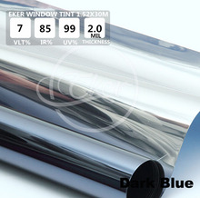 Free Shipping 1.52M*30M VLT 12% Mirror Dark Blue Building Office Glass Window Tint Car Window Tint Roll Solar Film(China)